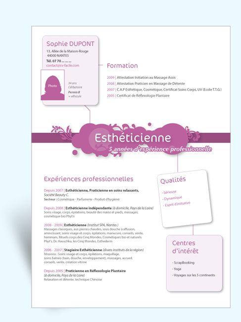mod u00e8le cv original estheticienne iii