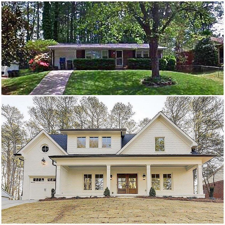 Can You Say Facelift Check Out The Before After On This Custom Renovation In Huntley Hills We Rea Ranch House Remodel Home Exterior Makeover House Exterior