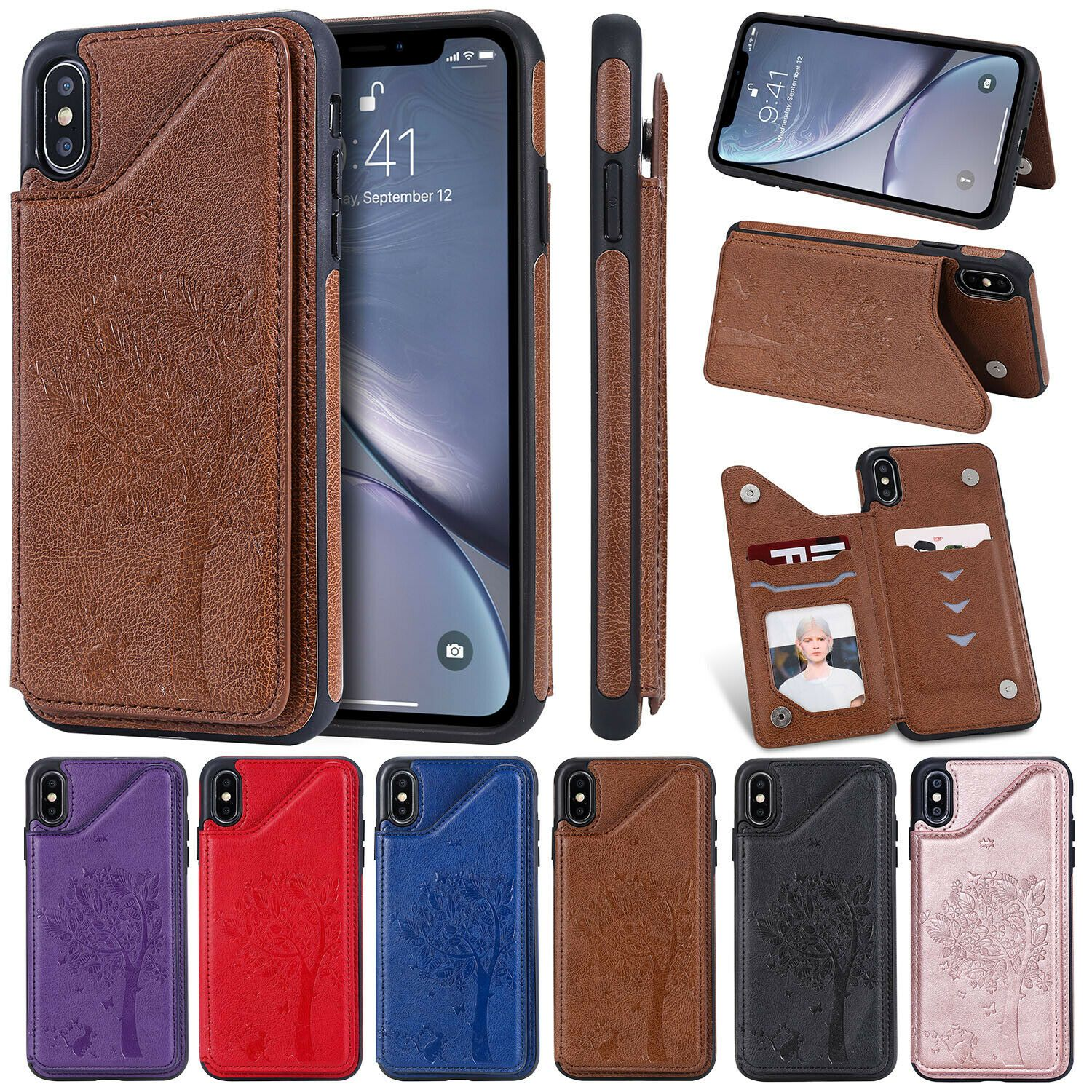 For Iphone 6s Plus 7 8 Xs Max Leather Case Card Holder Stand