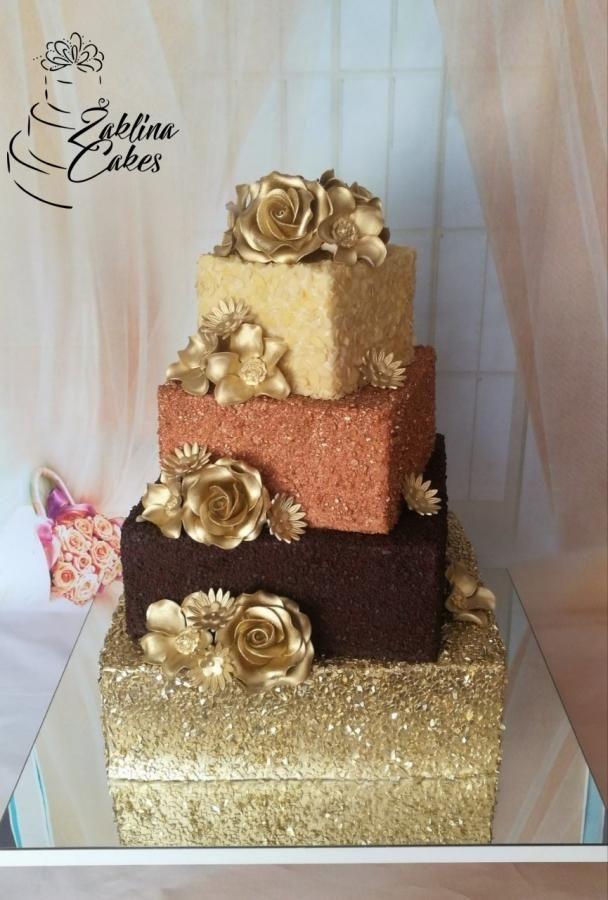 Chocolate golden wedding cake by Zaklina - http ...