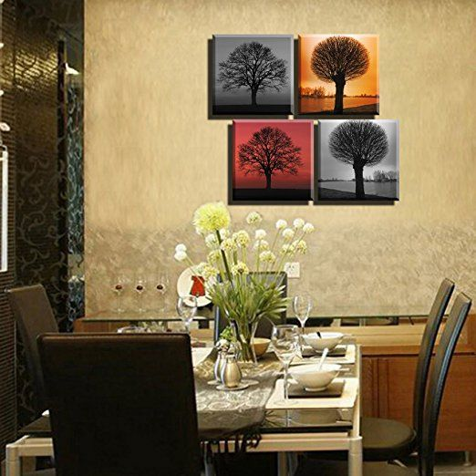 Amazon com lyglo 4 seasons modern landscape tree painting canvas wall art for home