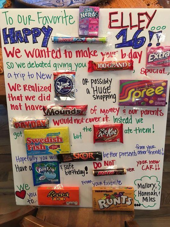 Meagans 16th Birthday Candy Birthday Cards Pinterest