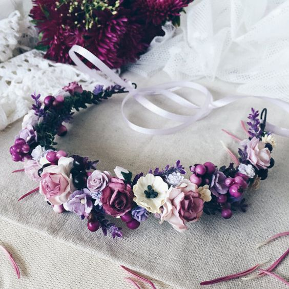 Flower Crown Inspiration With Deeper Purples And Mixed Eucalyptus Bridal Crown Bridal Flower Crown Bridal Flowers