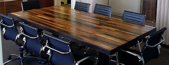Reclaimed Wood Conference Table - Solid Wood Hand Crafted Meeting - Reclaimed Wood Conference Table WB Designs