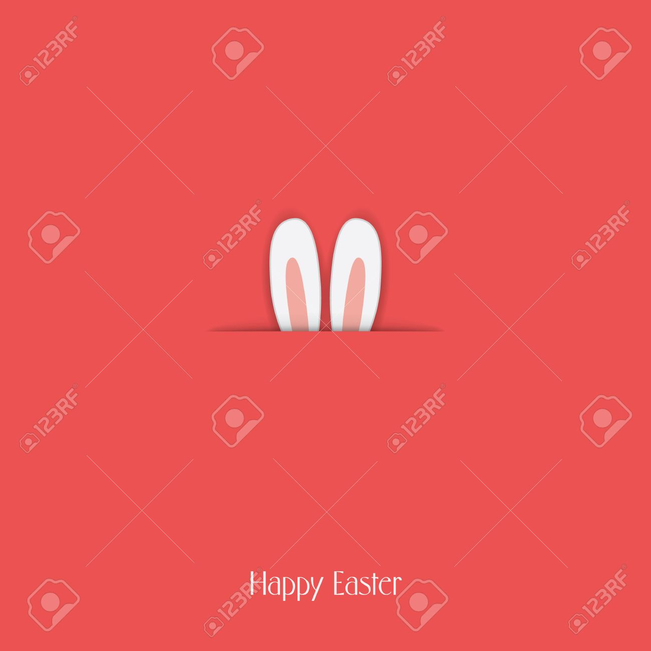 Adorable Happy Easter Postcard Template With Bunny Hiding And – Easter Postcard Template