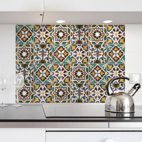 Kitchen Panel Piastrelle Verdi | Wall Stickers Decorazioni Adesive ...