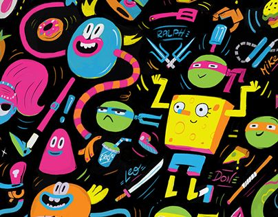"""Check out this Behance project """"Nickelodeon Patterns"""