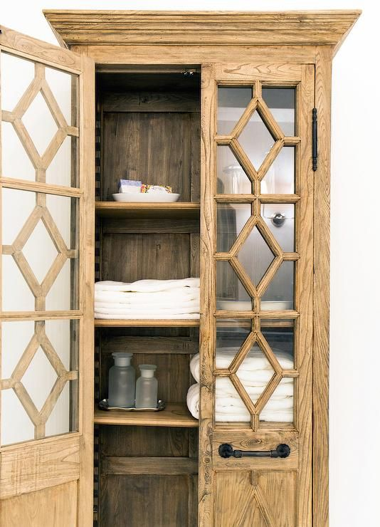 Stunning Bathroom Features A Freestanding Linen Cabinet