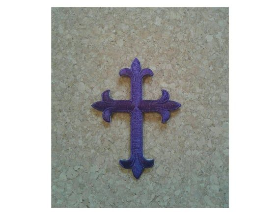 Cross - Christian - Lent - Advent - Church Stoles - Altar Cloths - Embroidered Purple Iron On Applique Patch - 4H #churchitems