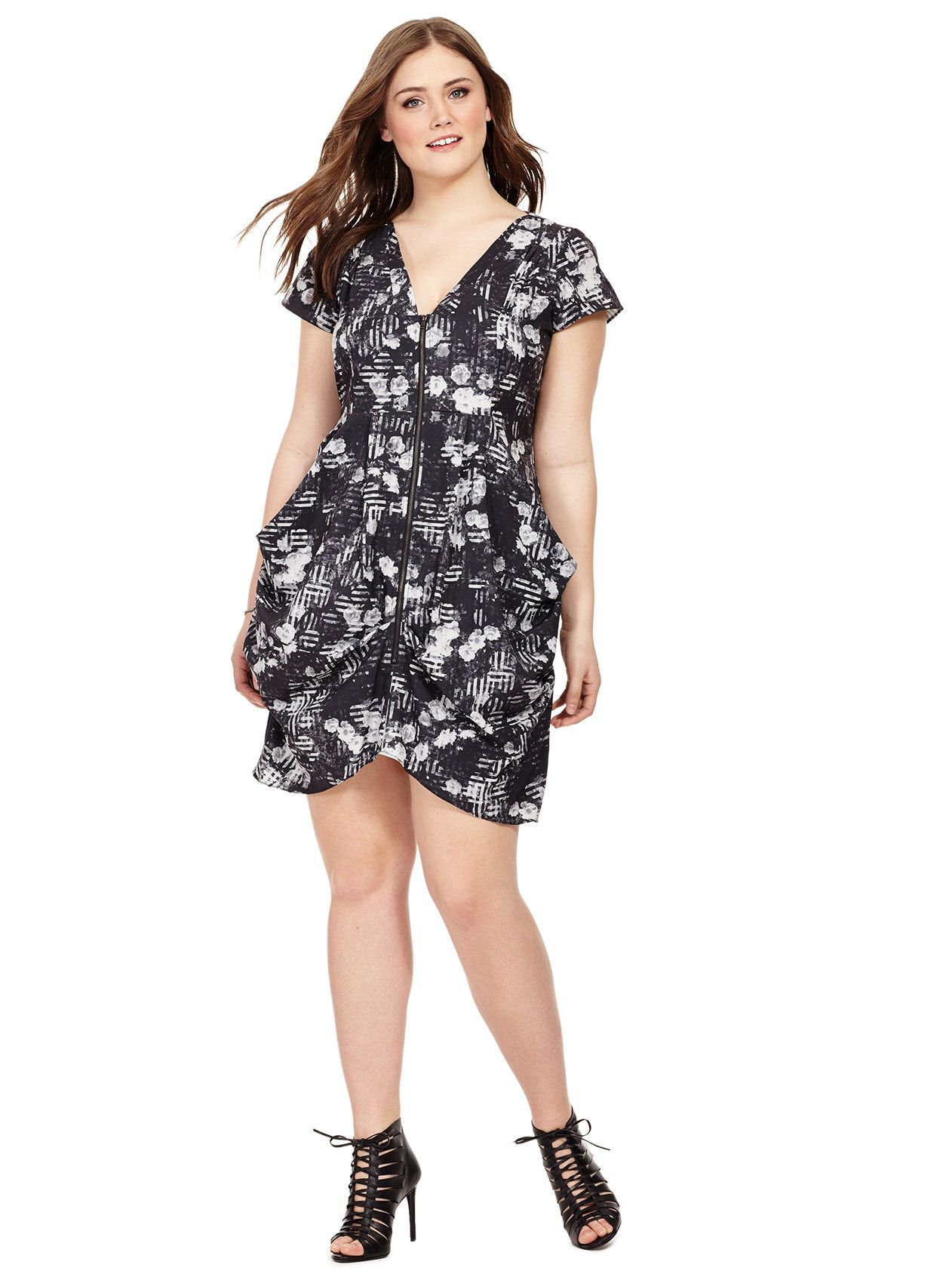 3789a34f03d Mono Floral Zip Front Tunic Dress