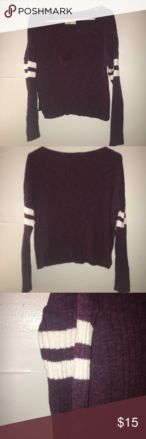 Hollister Maroon/Burgundy StrIped Crop Sweater | Customer support