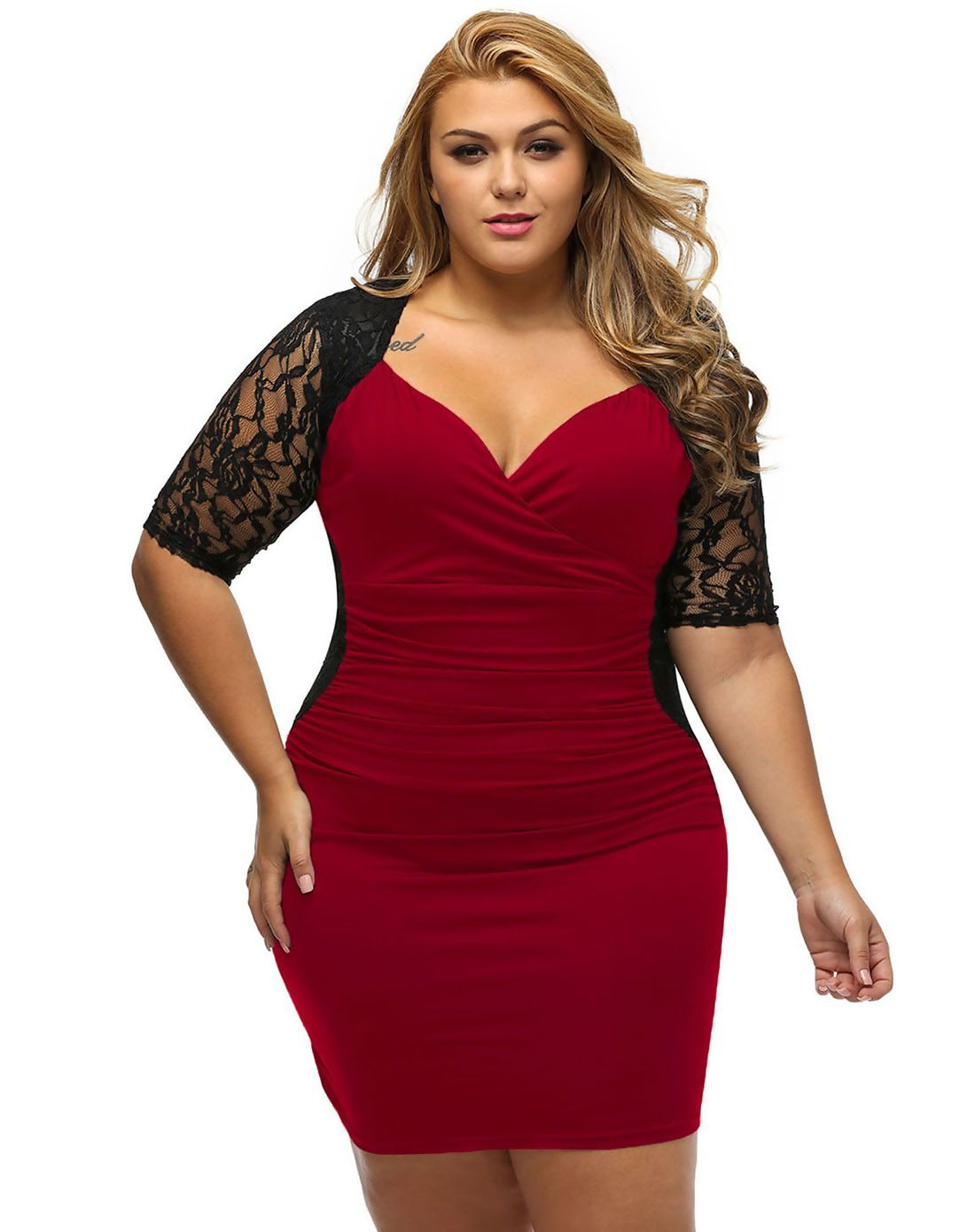 Adorewe vipme sheath dressesdesigner dear lover red colorblock