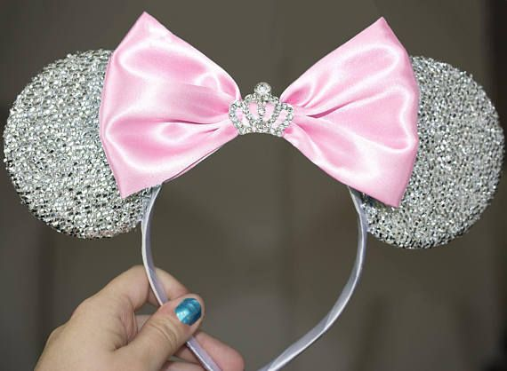 Mouse Ears Hairband Christmas Headband With Sequin Hair Bows Bling Bow Headband
