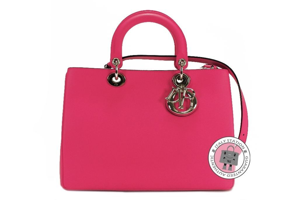 Dior New M0902 Pvpu Diorissimo Small Rose Hot Pink Calfskin Tote Bag Shw Mprs Ebay