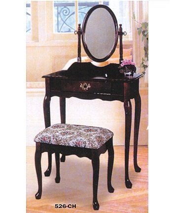 Stupendous Tranditional Cherry Wood Vanity Set W Stool Makeup Desk Squirreltailoven Fun Painted Chair Ideas Images Squirreltailovenorg