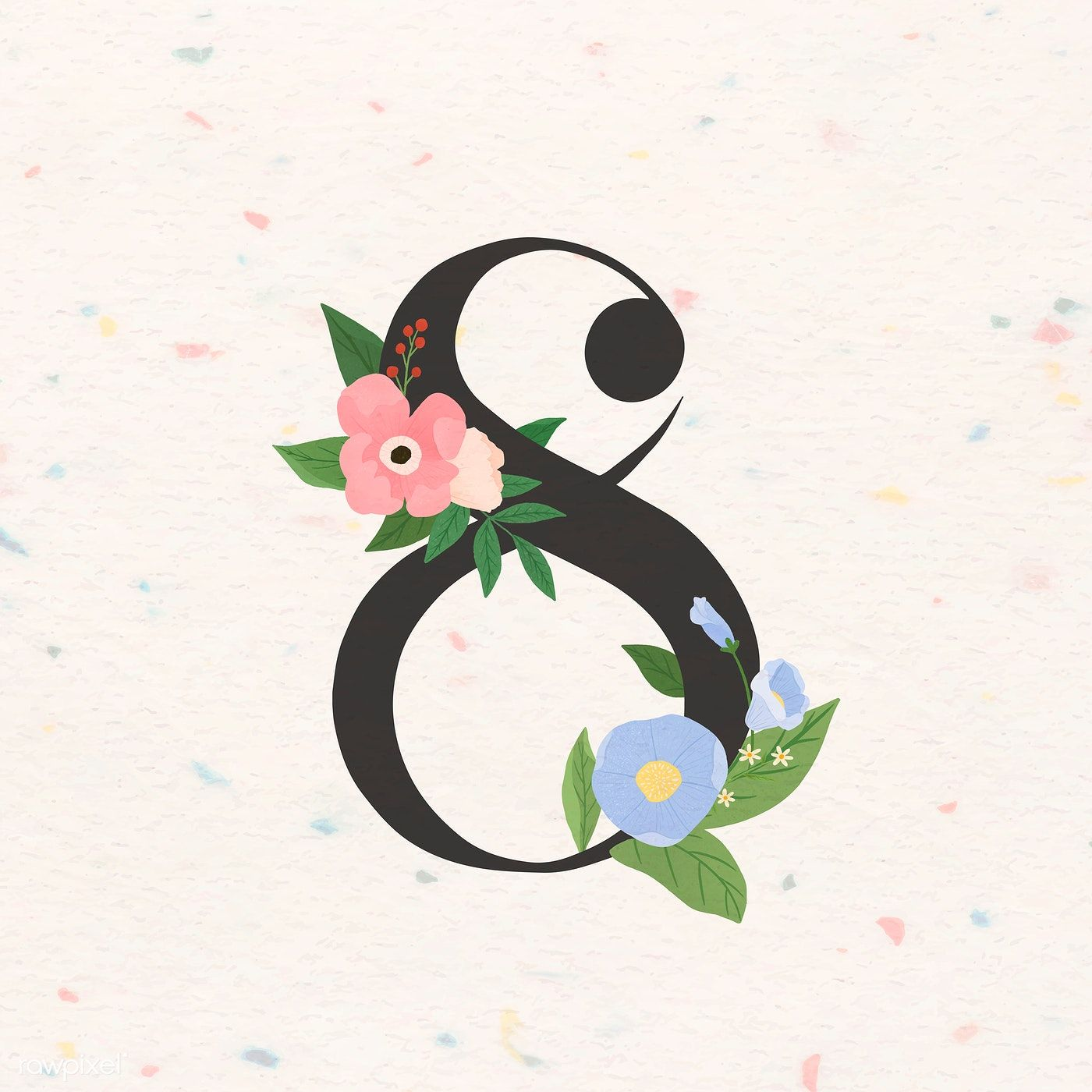 Download Premium Vector Of Watercolor Floral Number 8 Vector