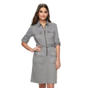 cd8df34f062 Women s Sharagano Houndstooth Roll-Tab Shirtdress