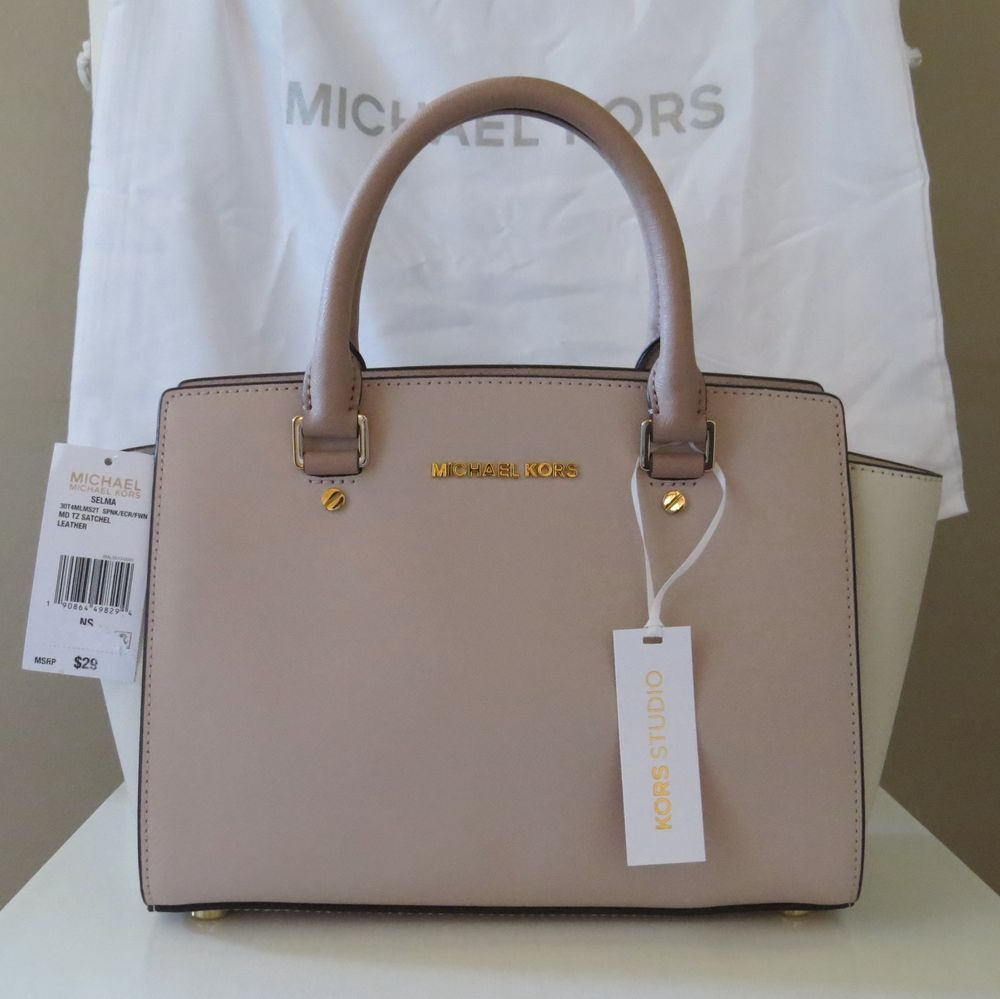 5d93ff0d6d70 Michael Kors STUDIO Medium Selma Soft Pink Fawn Ecru Colorblock Satchel   298 NEW  MichaelKors  Satchel