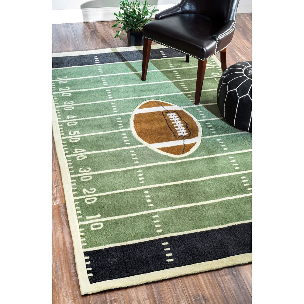 Quality Meets Value In This Beautiful Kids Football Field Area Rug.  Handmade With Polyester To