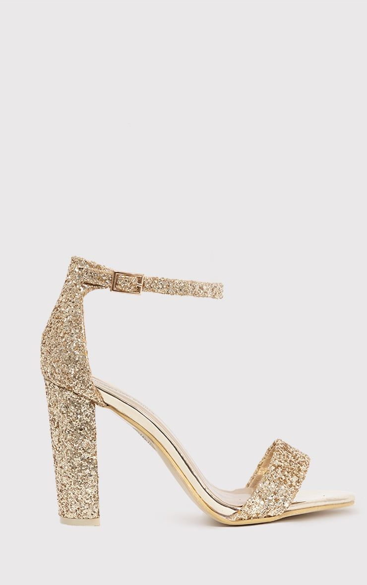 5932fac1edd Gold Glitter Block Heeled SandalsFashion is seriously lusting over all  things glitter this season.