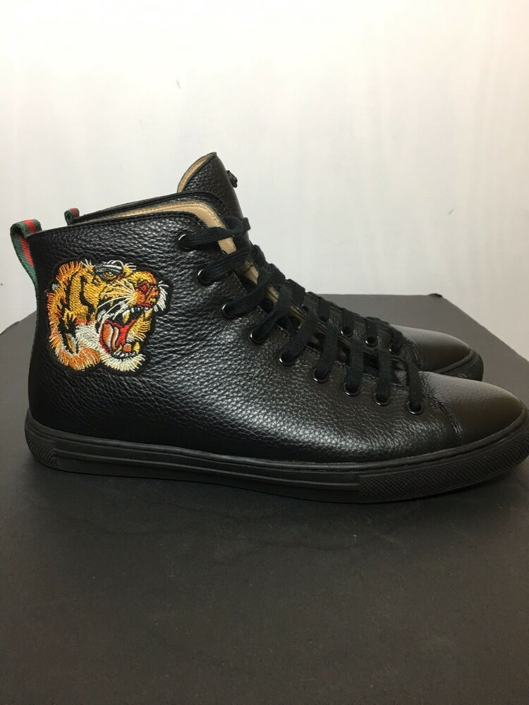 beb9c9b29 Details about Men's Gucci White Tiger Leather High Top sneakers; US ...