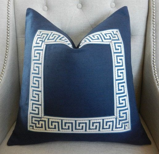 """Decorative Designer pillow cover 20""""X20"""" Solid linen in navy"""