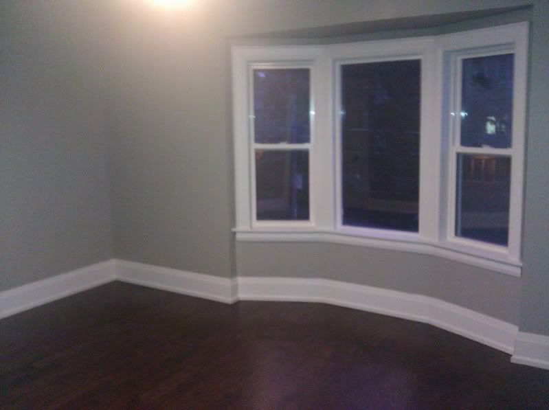 Grey paint white trim dark floors new place for Grey walls and floors