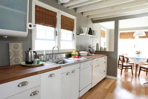 Love: White Cabinets, Wood Countertops, Bamboo Blinds, Grey Wall
