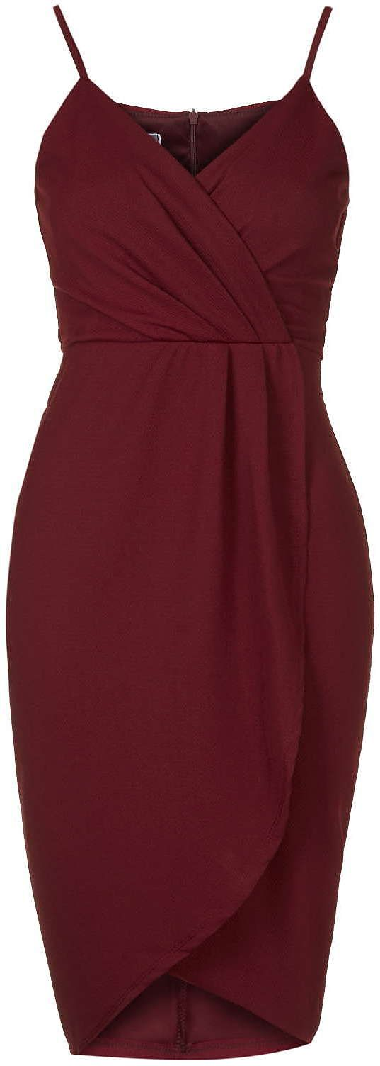 Wal g wrap detail dress with metallic stripe in blue navy lyst - Womens Burgundy Wrap Over Midi Dress By Wal G From Topshop 32 At