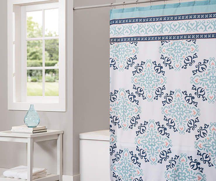 Living Colors Cathleen Aqua Medallion Shower Curtain