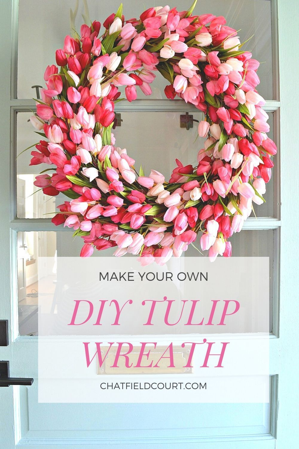 Create this beautiful DIY tulip wreath for your front door. A step-by-step tutorial plus a how-to video.