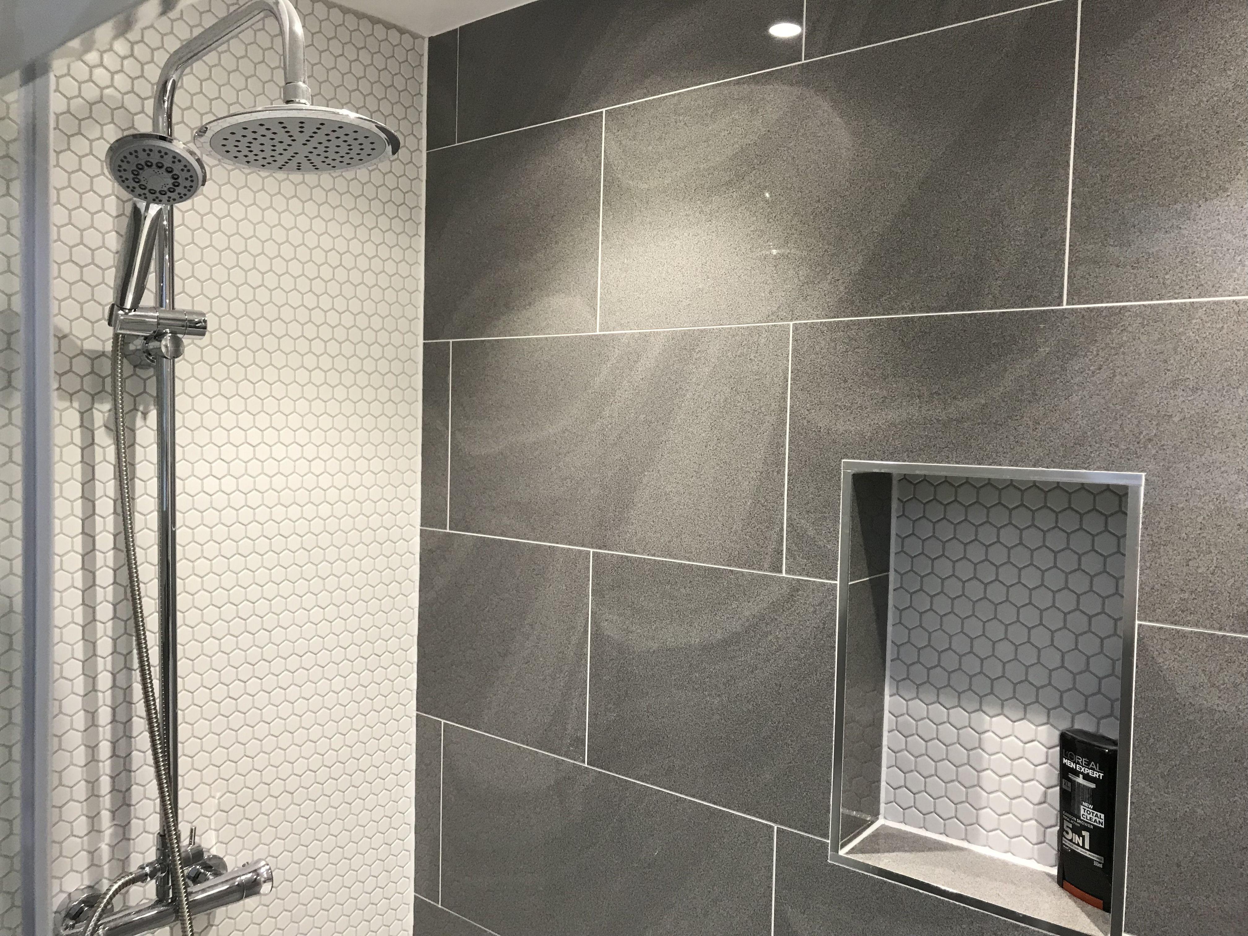 Topps Tiles Regal Wave Mist Grey Tiles And White Mosaics Bathroom Remodel Master Loft Bathroom Tile Bathroom