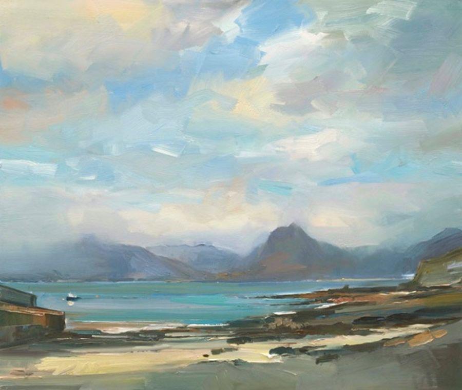 David Atkins Morning Light At Elgol Seascape Paintings
