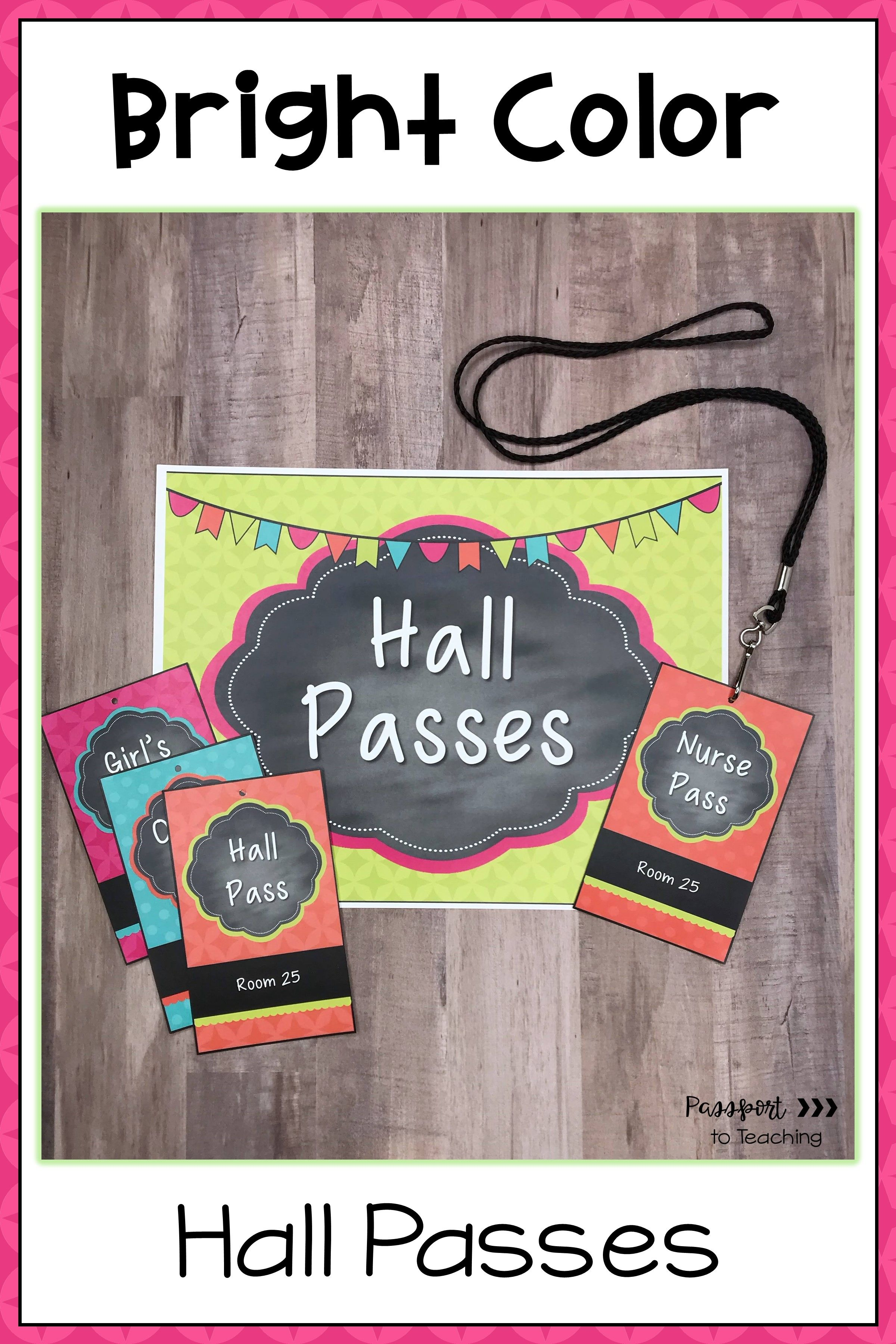 Bright Color Hall Passes EDITABLE in 2020 | Hall pass ...