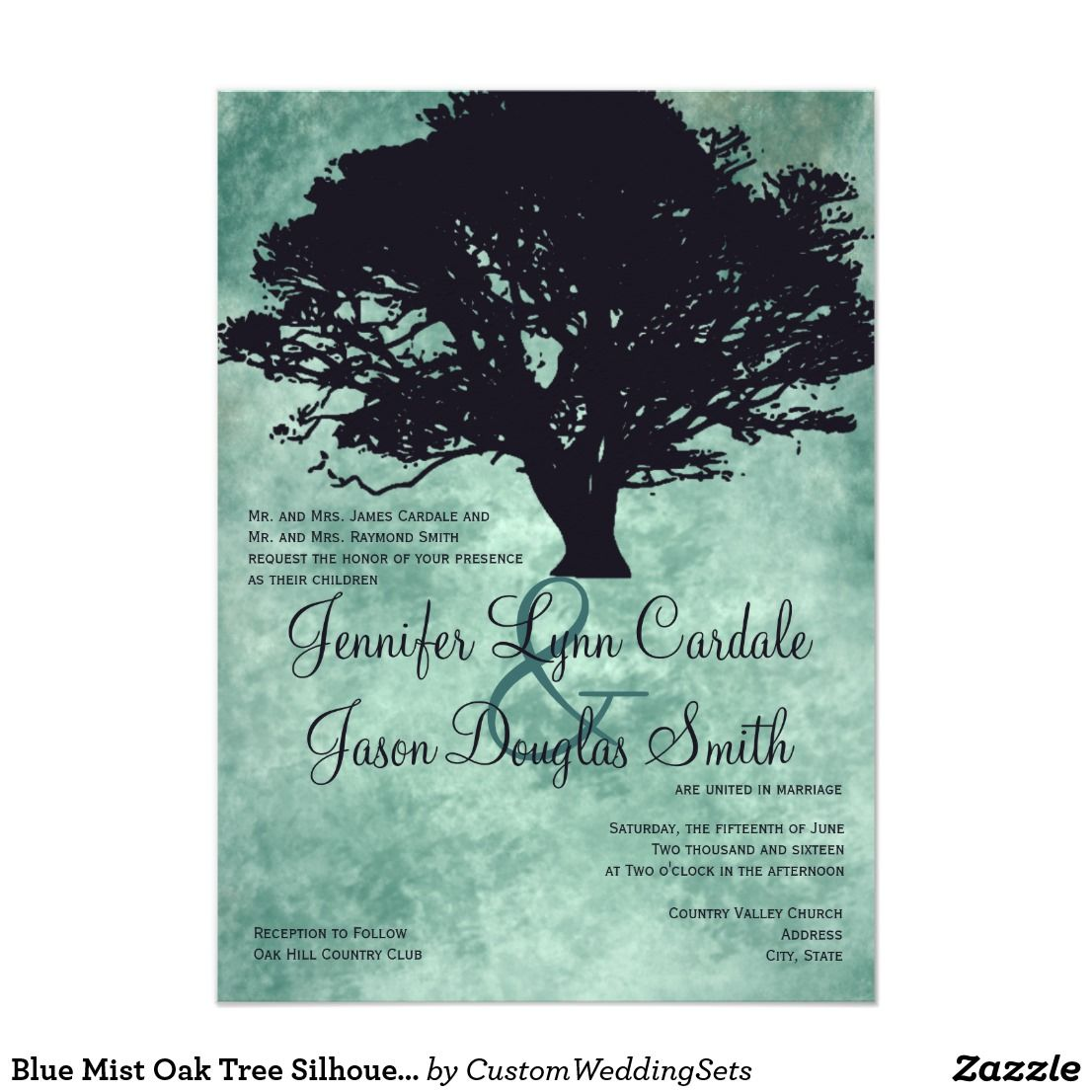 Blue Mist Oak Tree Silhouette Wedding Invitations Tree Silhouette