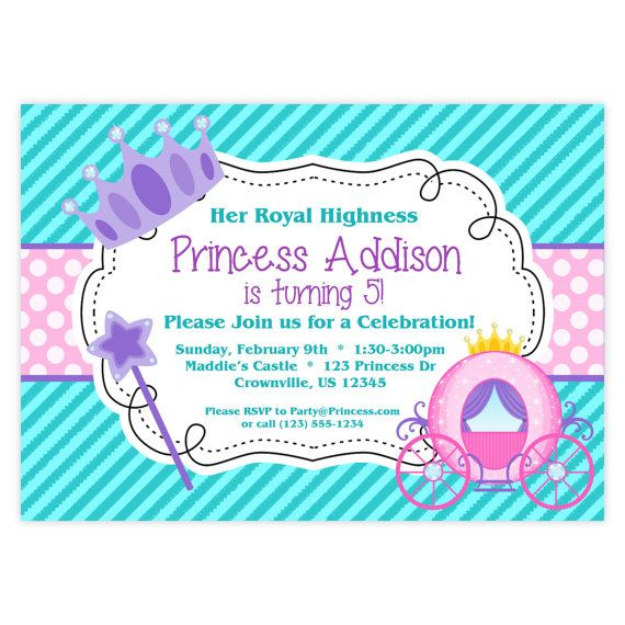 Princess Invitation Teal Turquoise Purple Pink