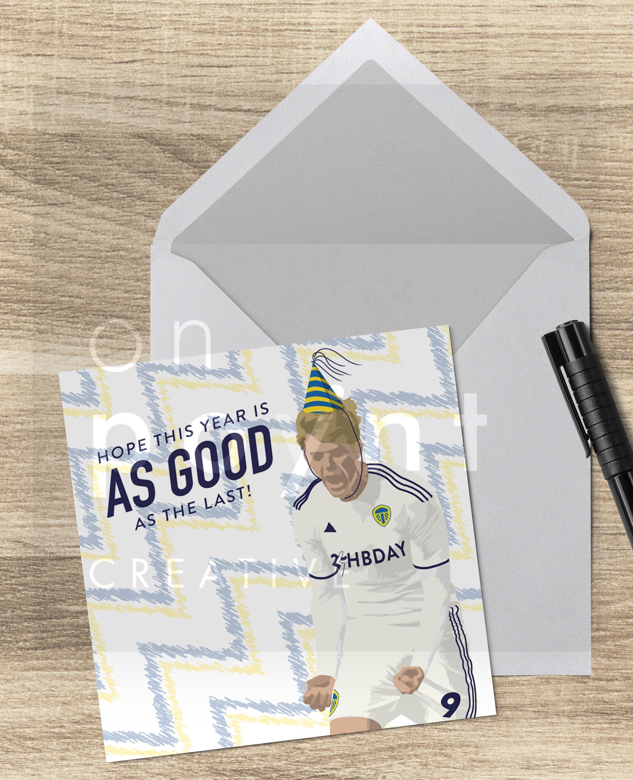 Leeds United Patrick Bamford Square Football Birthday Card Happy Birthday Football Birthday Happy Birthday Messages Birthday Cards