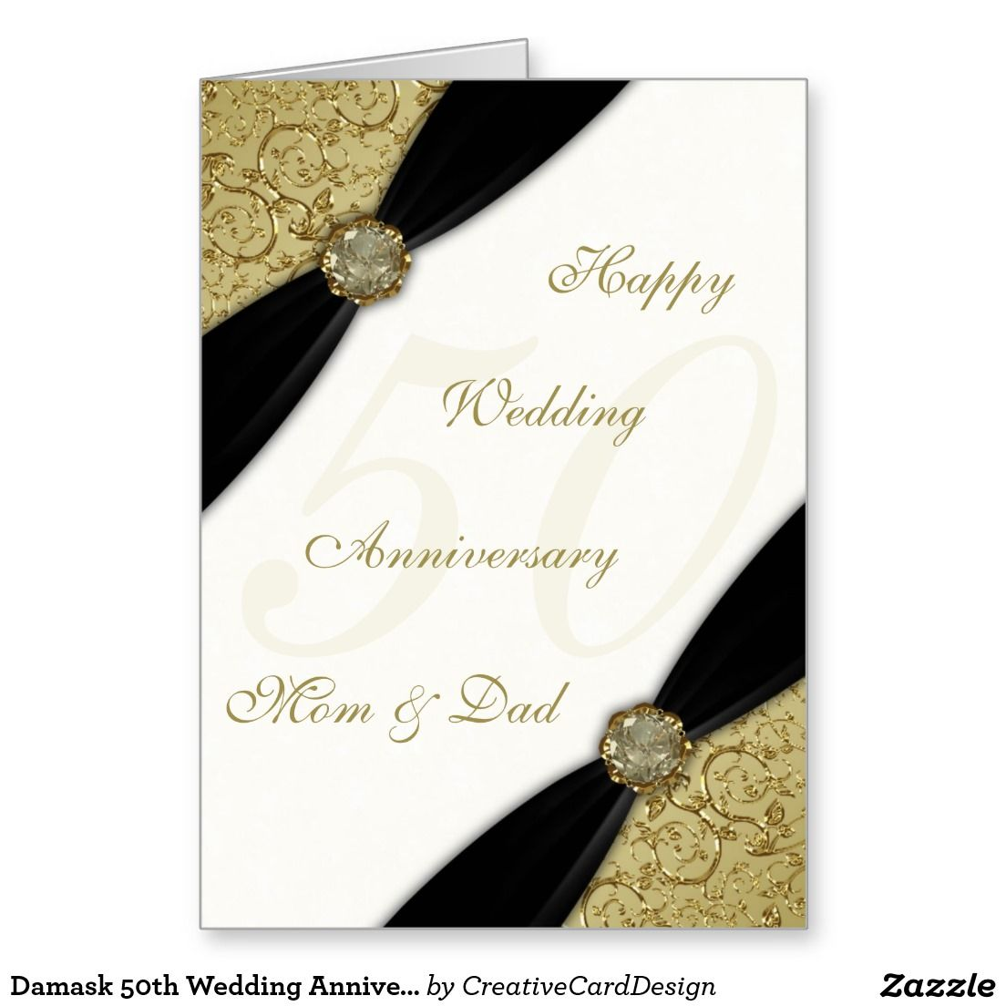 Damask 50th wedding anniversary greeting card wedding anniversary damask 50th wedding anniversary greeting card m4hsunfo