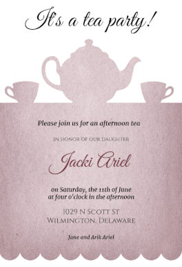Tea Party Free Printable Invitation Template