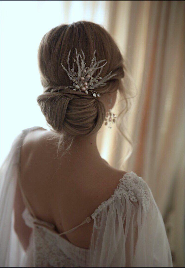 bridal hair pins with feathers-bridal hair pins-wedding hair