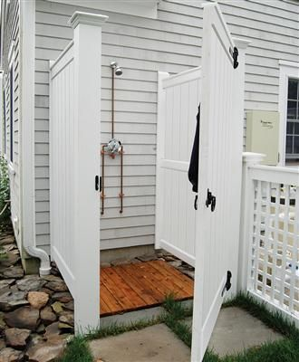 Barnstable Outdoor Shower Enclosure Kit in AZEK - Attached | Pool ...