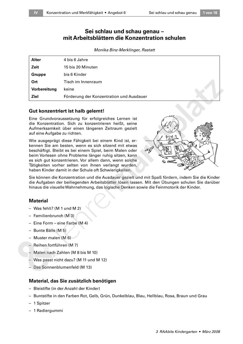 Mit Arbeitsblättern die Konzentration schulen | Klett Kita ...