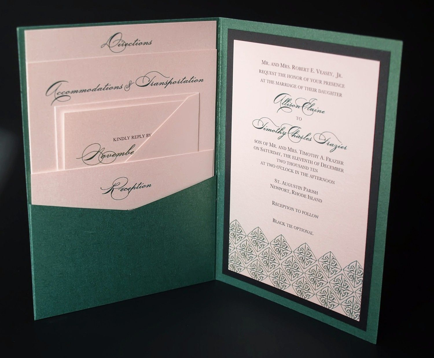 Irish Green Celtic Wedding Invitation - A7 Pocket Folded. | Tara\'s ...
