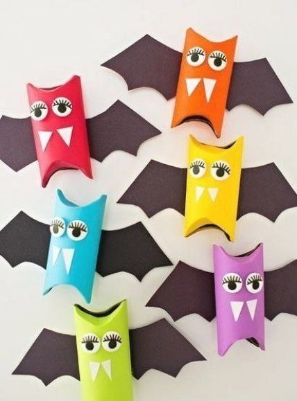 Rainbow Paper Tube Bats Cute Halloween craft for kids Make these as Halloween favors or colorful decora #halloweencrafts