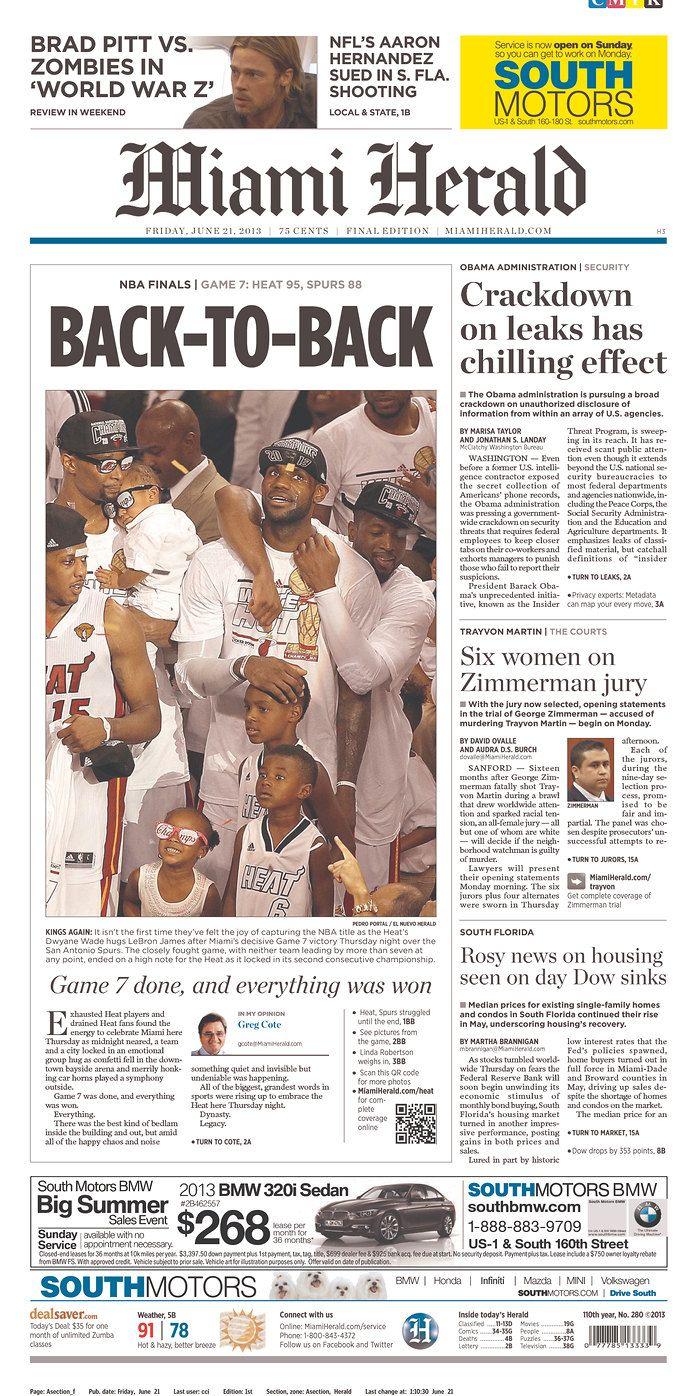 The Miami Herald Published In Miami Florida Usa Newspaper Cover Nba Finals Game Brad Pitt
