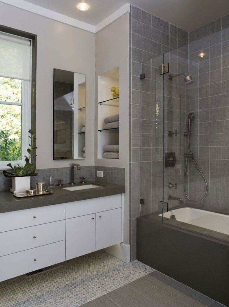 Attrayant Grey Bathroom Space Ideas Photo . Small Mosaic Tile On Floor With Larger  Bathroom Tiles In
