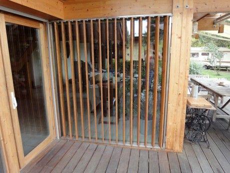 Volet persienne verticale mobile en bois pour baie vitr e for Persienne exterieur