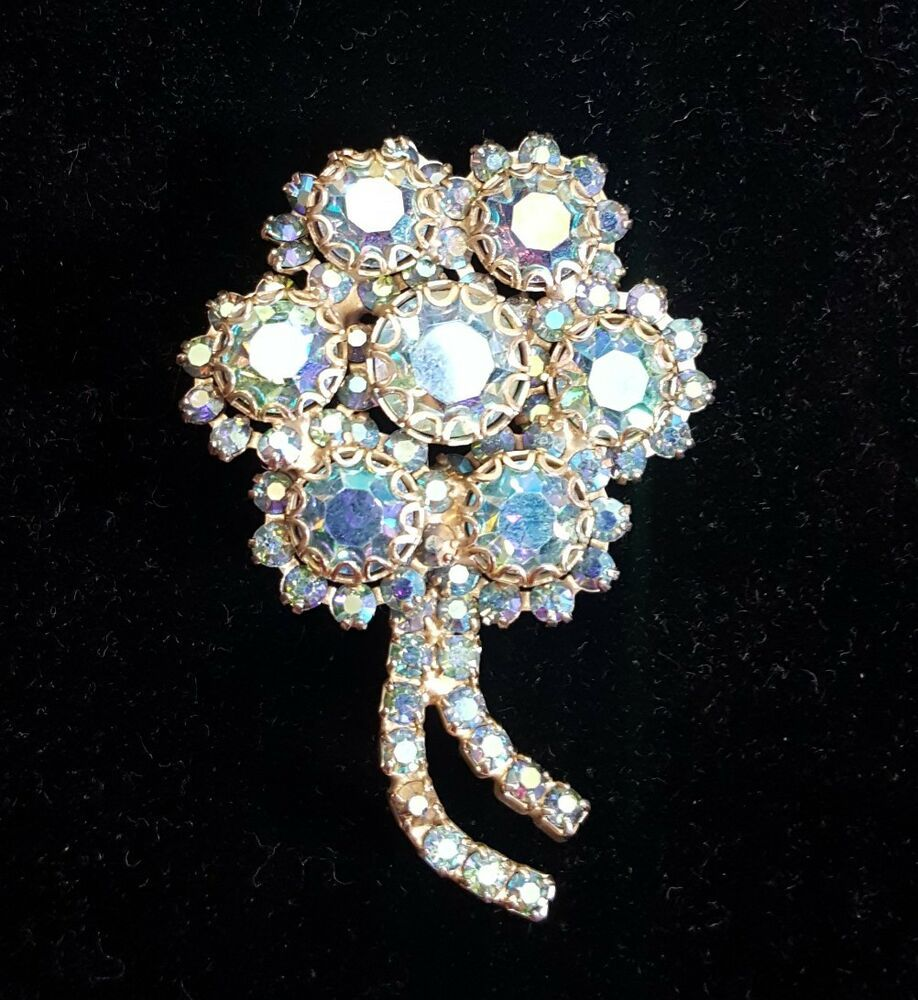e054c6aae89 Weiss Signed Brooch Pin Blue Flower Bridal Bouquet Vintage 2.25 in Gold Tone  #Weiss