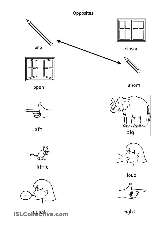 Image Result For Opposite Worksheet For Preschool