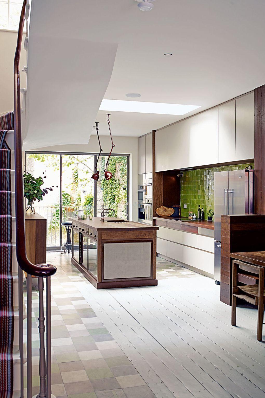 Kitchen Flooring Ideas White wood flooring with tiles